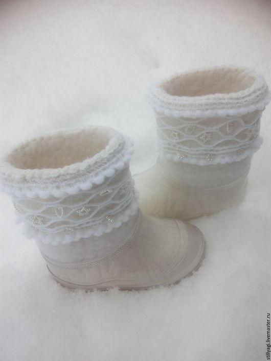 """Обувь ручной работы. Ярмарка Мастеров - ручная работа. Купить Детские валенки """"Белые"""" для улицы. Handmade. Белый, валенки для улицы"""