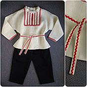Работы для детей, ручной работы. Ярмарка Мастеров - ручная работа Костюм русский народный для мальчика детский льняная рубашка. Handmade.
