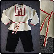 Работы для детей, ручной работы. Ярмарка Мастеров - ручная работа Русский народный костюм для мальчика (белёный лён). Handmade.