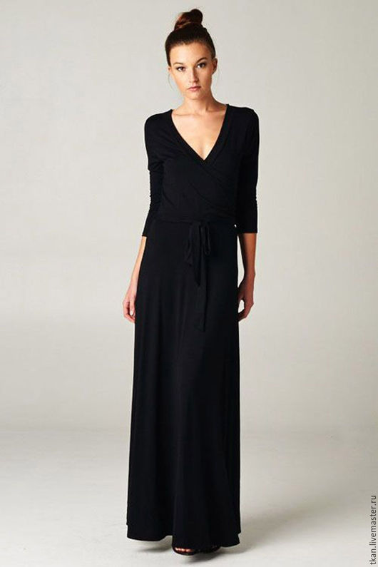 """Платья ручной работы. Ярмарка Мастеров - ручная работа. Купить Чёрное платье """"Джой"""". Handmade. Черный, платье в пол, трикотаж"""