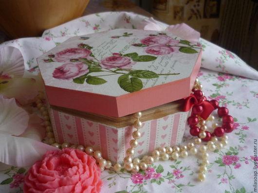 """Шкатулки ручной работы. Ярмарка Мастеров - ручная работа. Купить Шкатурка деревянная """"Розы"""", декупаж. Handmade. Бледно-розовый, цветы"""