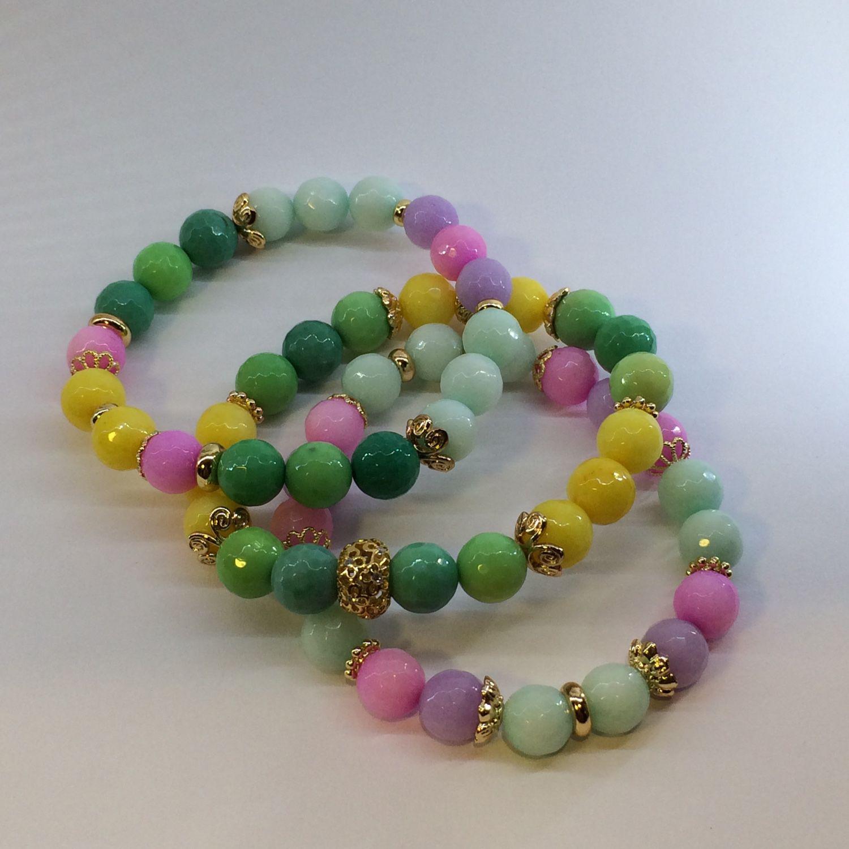 """Набор браслетов из камней  """" весенние цветы """""""