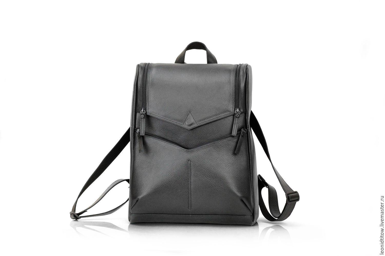 Men's Black Leather Backpack, Backpacks, St. Petersburg,  Фото №1