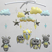 Работы для детей, handmade. Livemaster - original item Mobiles on the crib: Grey-yellow