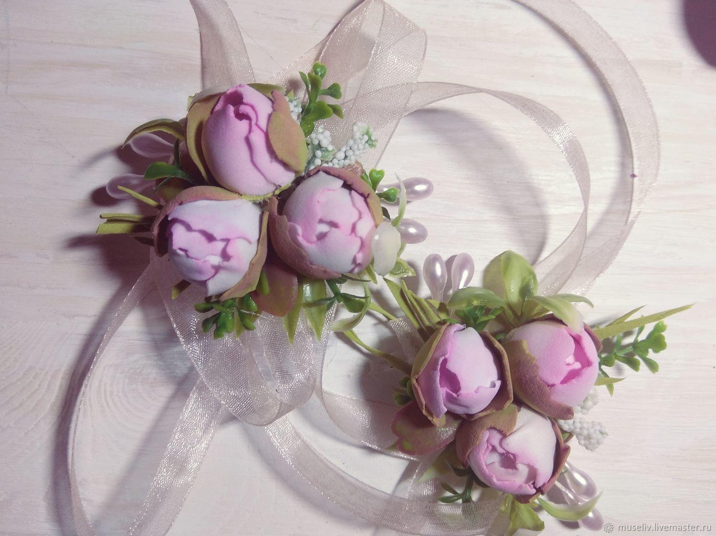 Персональный заказ на свадебные бокалы розовые пионы в бутонах, Бокалы, Москва,  Фото №1