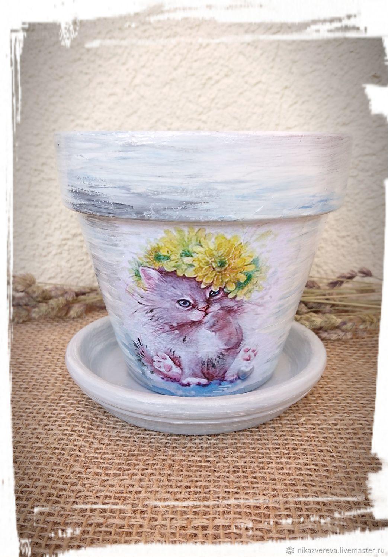 Flower pot decoupage Kittens, Pots, St. Petersburg,  Фото №1