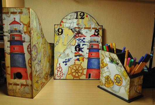 """Детская ручной работы. Ярмарка Мастеров - ручная работа. Купить набор """"время путешествий"""". Handmade. Часы настенные, подставка для бумаг"""