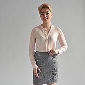 Одежда handmade. Livemaster - original item Jacquard skirt grey. Handmade.