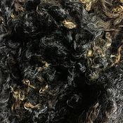 Материалы для творчества handmade. Livemaster - original item Fleece Leicester a first year Black-melirovanyh. New Zealand. 50 grams.. Handmade.