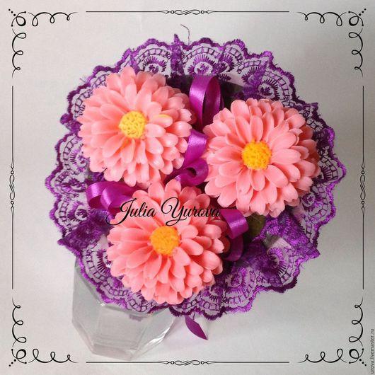 """Мыло ручной работы. Ярмарка Мастеров - ручная работа. Купить Букет из мыла """"Циния"""". Handmade. Розовый, сувениры и подарки"""