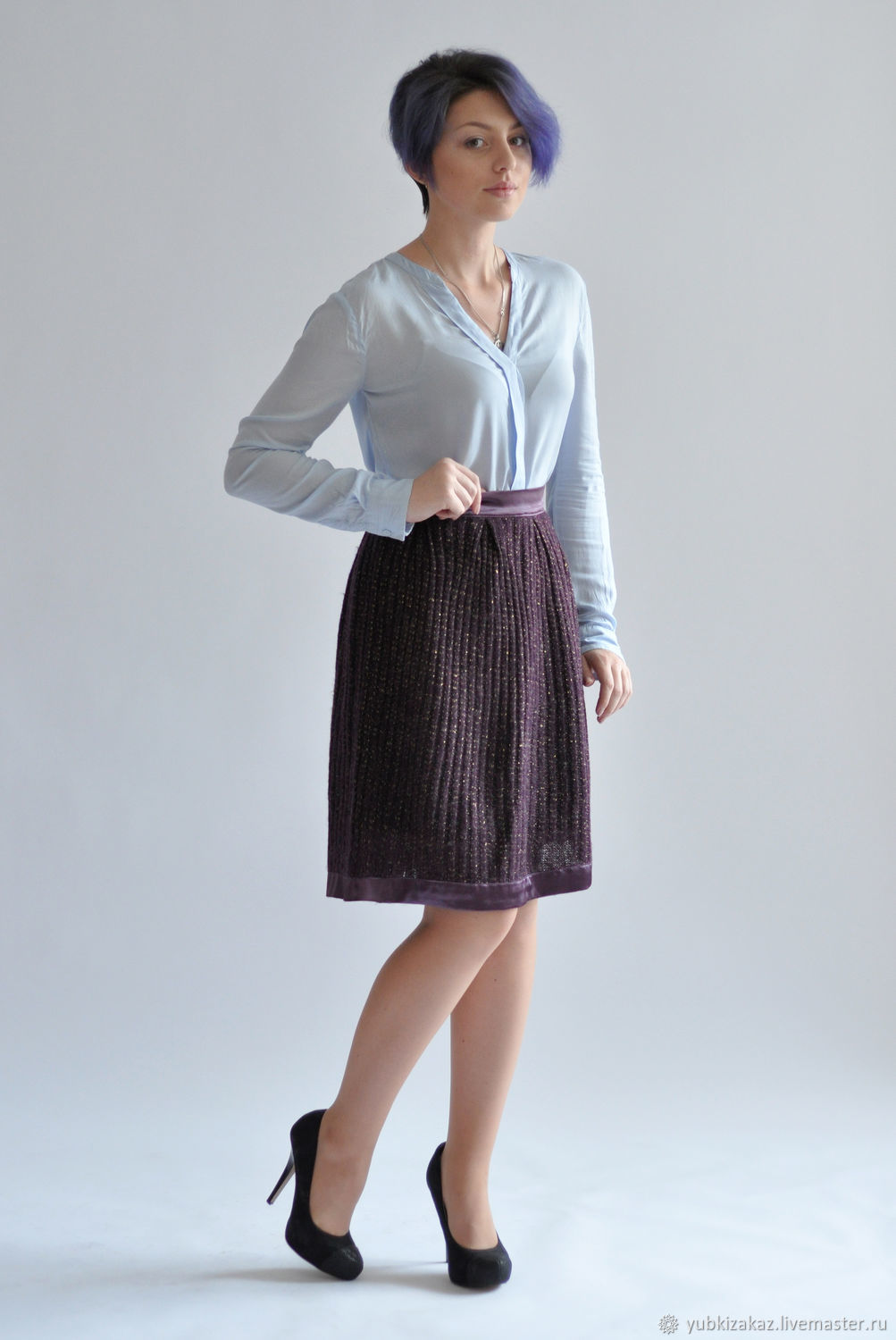 skirt purple knitted jersey with lurex, Skirts, Novosibirsk, Фото №1