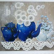 """Картины и панно ручной работы. Ярмарка Мастеров - ручная работа Картина """"Синее чаепитие"""". Handmade."""