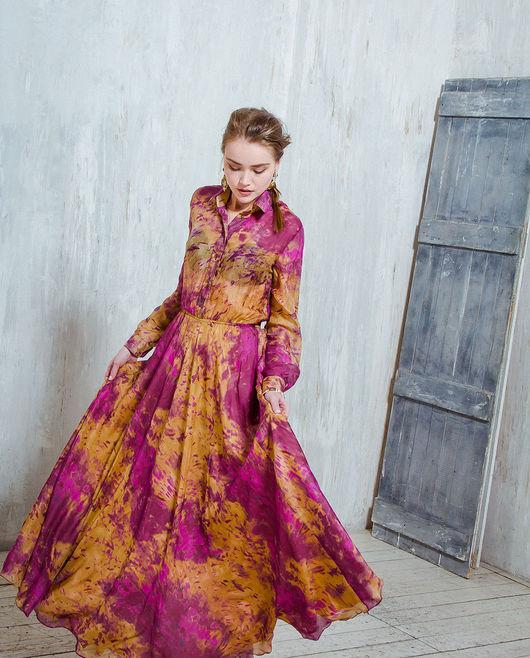 Платья ручной работы. Ярмарка Мастеров - ручная работа. Купить Шелковое платье «Деревья и ягоды». Handmade. Коричневый, длинное платье