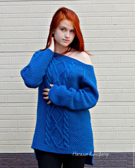 Кофты и свитера ручной работы. Ярмарка Мастеров - ручная работа. Купить Пуловер. Handmade. Тёмно-синий, оверсайз, пуловер, для девешки