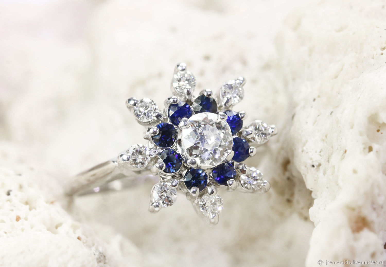 0.84tw Mine Cut Diamond & Sapphire Ring 14k, Diamond and Sapphire Clus, Rings, West Palm Beach,  Фото №1