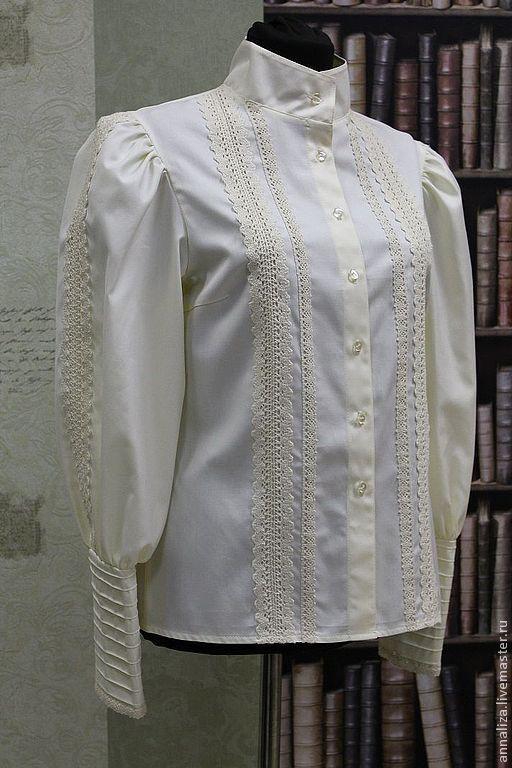 Блузки ручной работы. Ярмарка Мастеров - ручная работа. Купить Блузка из хлопка в Викторианском стиле. Handmade. Женская блузка