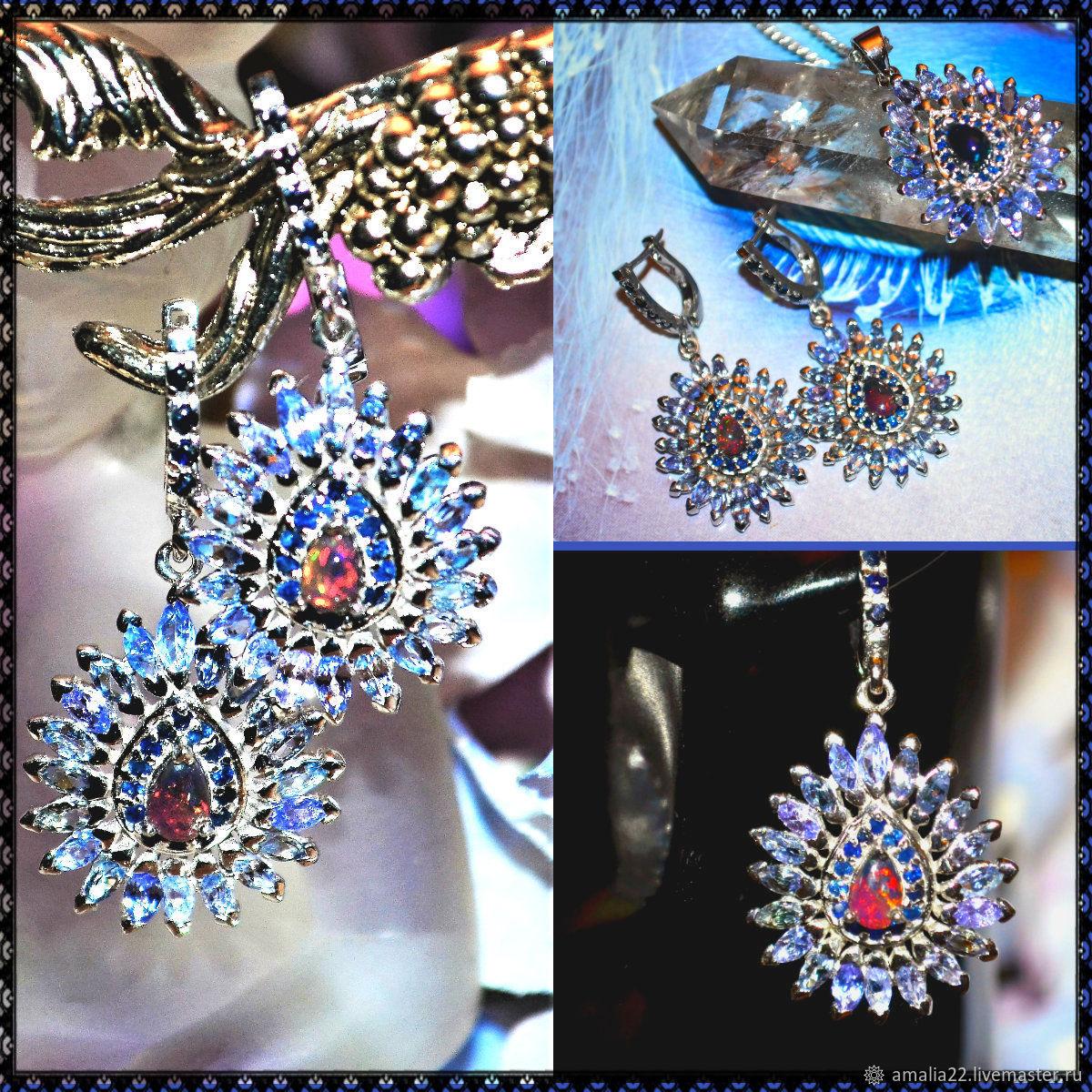 Earrings Ring Black fire opal Tanzanite Sapphire sterling Silver, Jewelry Sets, Moscow,  Фото №1