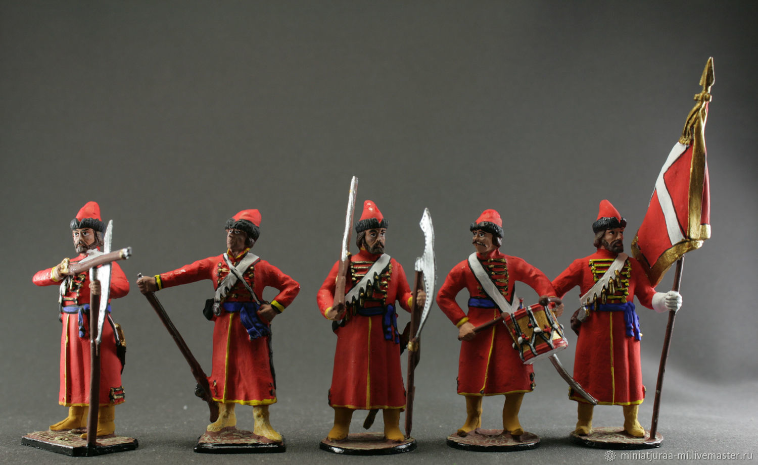 The middle ages. Set of 5 toy soldiers 54 mm.Streltsov. RUSSIA, Military miniature, St. Petersburg,  Фото №1
