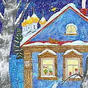 handmade. Livemaster - original item Large Poster for Interior New Year`s Eve Winter Landscape Painting. Handmade.