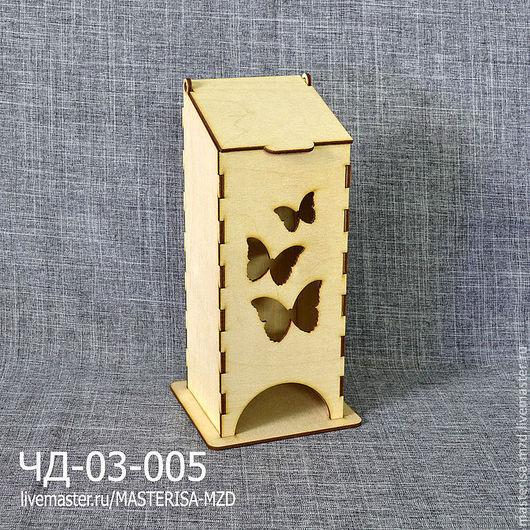 ЧД-03-005. Чайный домик с откидной крышкой. Форма окон - бабочки. Материал: фанера 3 мм сорт 2/2