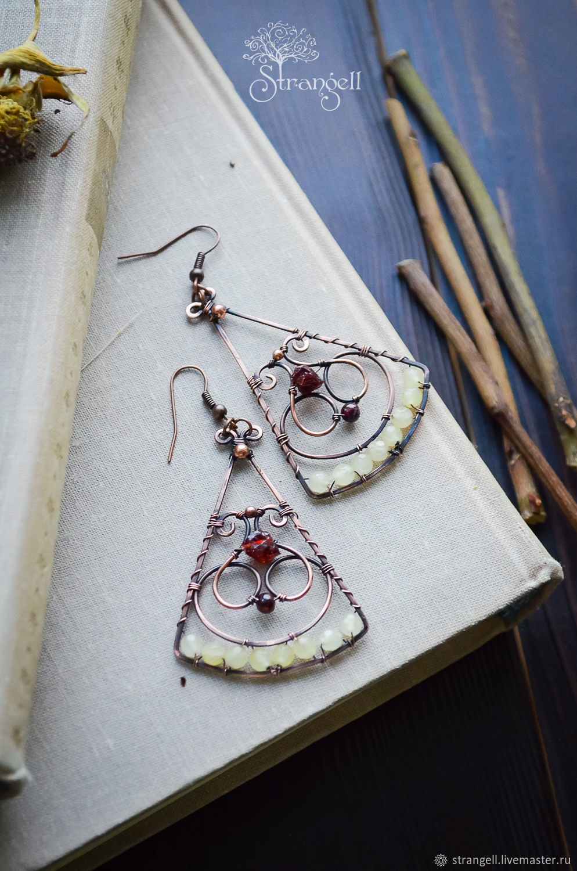 Triangular wire wrap earrings with garnet and chalcedony Copper earrings, Earrings, Ulan-Ude,  Фото №1