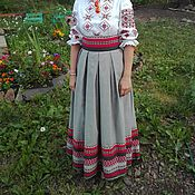 Одежда handmade. Livemaster - original item Skirt with traditional ornaments, cotton linen.. Handmade.