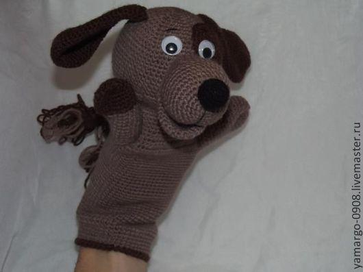 Кукольный театр ручной работы. Ярмарка Мастеров - ручная работа. Купить Кукла-перчатка. Собачка Шоколадка. Handmade. Собачка на руку
