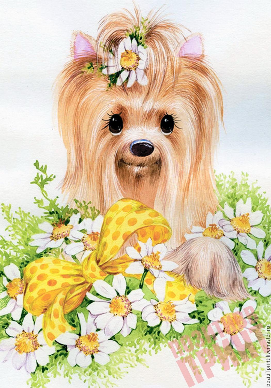Открытки с днем рождения с собакой йоркширский терьер
