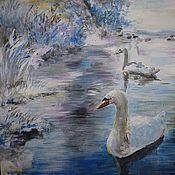 """Картины и панно ручной работы. Ярмарка Мастеров - ручная работа Картина """"Лебединое озеро. Зима"""" (пейзаж). Handmade."""