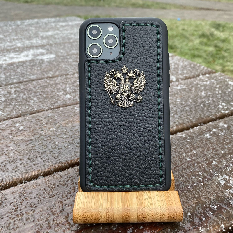 Кожаный чехол с гербом России для iPhone 11 Pro, Чехол, Москва,  Фото №1