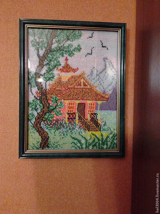 Пейзаж ручной работы. Ярмарка Мастеров - ручная работа. Купить Картина из бисера  Чайный домик. Handmade. Китай, горы, лето