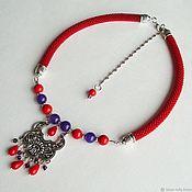 Necklace handmade. Livemaster - original item Necklace Kalinka-Malinka necklace With natural stones. Handmade.