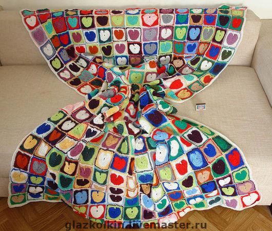 """Текстиль, ковры ручной работы. Ярмарка Мастеров - ручная работа. Купить Плед """"С любовью"""". Handmade. Плед, покрывало пэчворк"""
