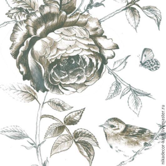 Цветок и птичка (SLOG030501) - салфетка для декупажа, Салфетки для декупажа, Москва, Фото №1