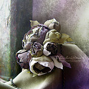 Украшения ручной работы. Ярмарка Мастеров - ручная работа Цветы из ткани Брошь бронзовый букет. Handmade.