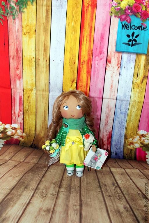 Коллекционные куклы ручной работы. Ярмарка Мастеров - ручная работа. Купить Интерьерная куколка. Handmade. Зеленый, кукла для девочки, хлопок