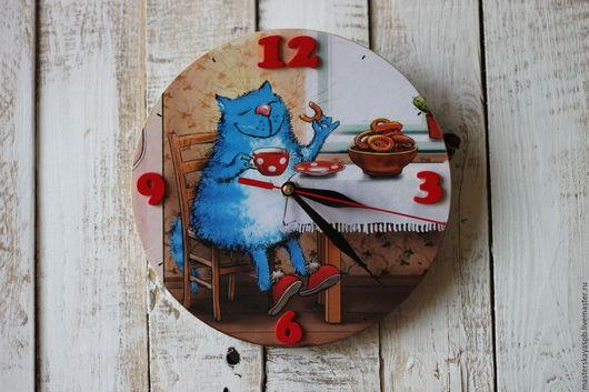 """Часы для дома ручной работы. Ярмарка Мастеров - ручная работа. Купить Часы """"Чаепитие"""". Handmade. Часы с котом, любителю кошек"""