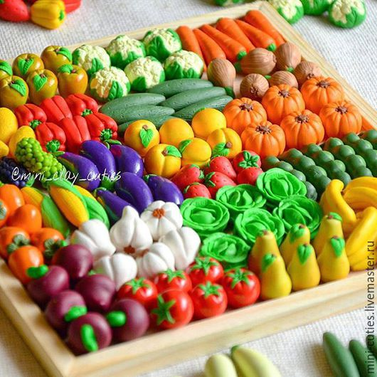Миниатюра ручной работы. Ярмарка Мастеров - ручная работа. Купить Овощи и фрукты из полимерной глины. Handmade. Фрукты, огород