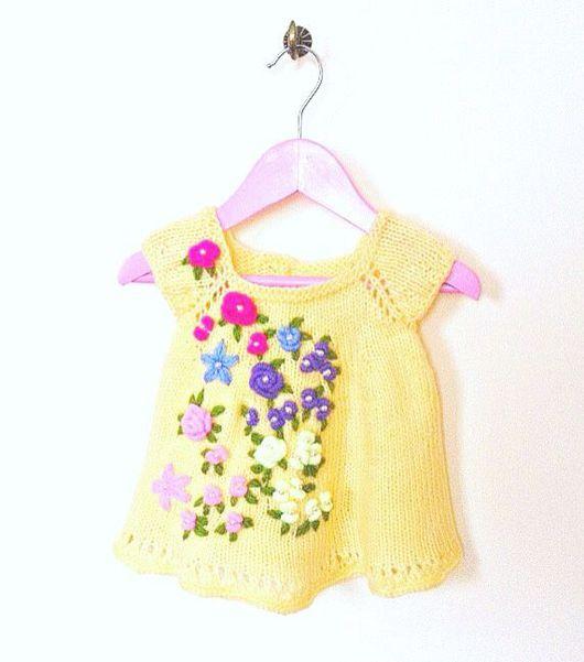 Одежда для девочек, ручной работы. Ярмарка Мастеров - ручная работа. Купить Вязаный детский сарафан - туника. Handmade. Желтый