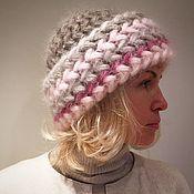 Аксессуары ручной работы. Ярмарка Мастеров - ручная работа Шапка  Роза вязаная из кид-мохера, шапка вязаная, женская, тёплая. Handmade.