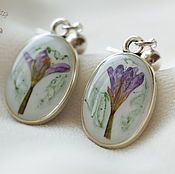 Украшения handmade. Livemaster - original item Purple earrings with flowers.Jewelry set with real flowers.. Handmade.