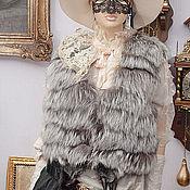 Одежда ручной работы. Ярмарка Мастеров - ручная работа Жилет серебристая  чернобурка. с рюкзаком бархат. Handmade.