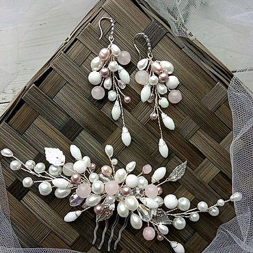 Свадебный салон ручной работы. Ярмарка Мастеров - ручная работа Свадебный комплект украшений в пудровом цвете Розовые белые украшения. Handmade.
