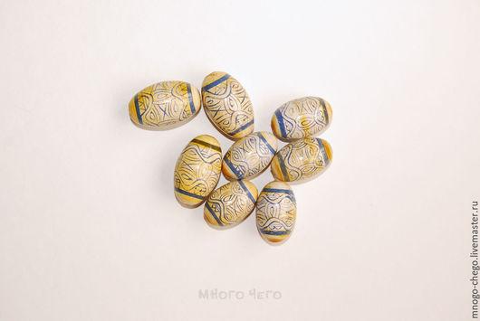 Для украшений ручной работы. Ярмарка Мастеров - ручная работа. Купить Бусины большие / эллипсоид / ручная роспись. Handmade.