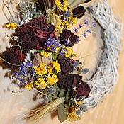 Цветы и флористика handmade. Livemaster - original item Wreath interior 35-40 see dried flowers.rose. birch base.. Handmade.