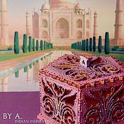Для дома и интерьера ручной работы. Ярмарка Мастеров - ручная работа Ажурная розовая шкатулка для украшений точечная роспись индийский. Handmade.
