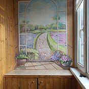 Дизайн и реклама ручной работы. Ярмарка Мастеров - ручная работа Роспись на балконе Окно в сад. Handmade.
