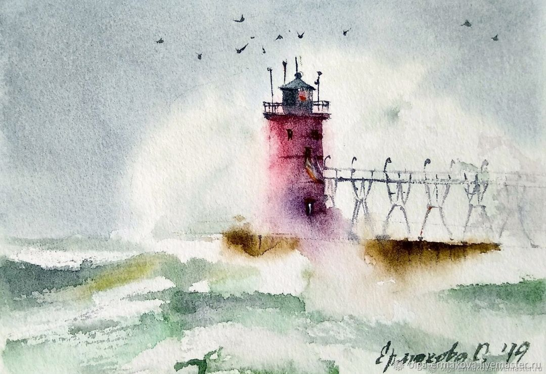 Red lighthouse in the sea watercolor painting. Picture of a sea with a storm, Pictures, Moscow,  Фото №1