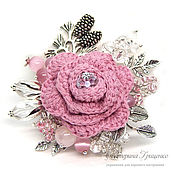 Украшения handmade. Livemaster - original item Knitted brooch. Brooch bouquet. Brooch boho. Brooch Ice rose. Handmade.