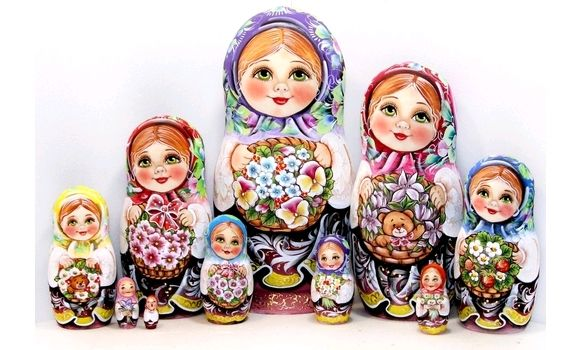 Матрёшка Анютины глазки 10мест 30 сантиметров, Народная кукла, Шатура,  Фото №1